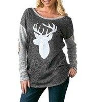 Women O Neck Drop Shoulder Sleeve Print Pullover Hoodie Sweatshirt