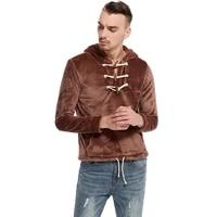 New Autumn Hooded Sweatshirt Men Women 2017 Fashion Horn Button Mens Hoody Jacket Coat Casual Fleece Slim Fit Hoodie Pullover