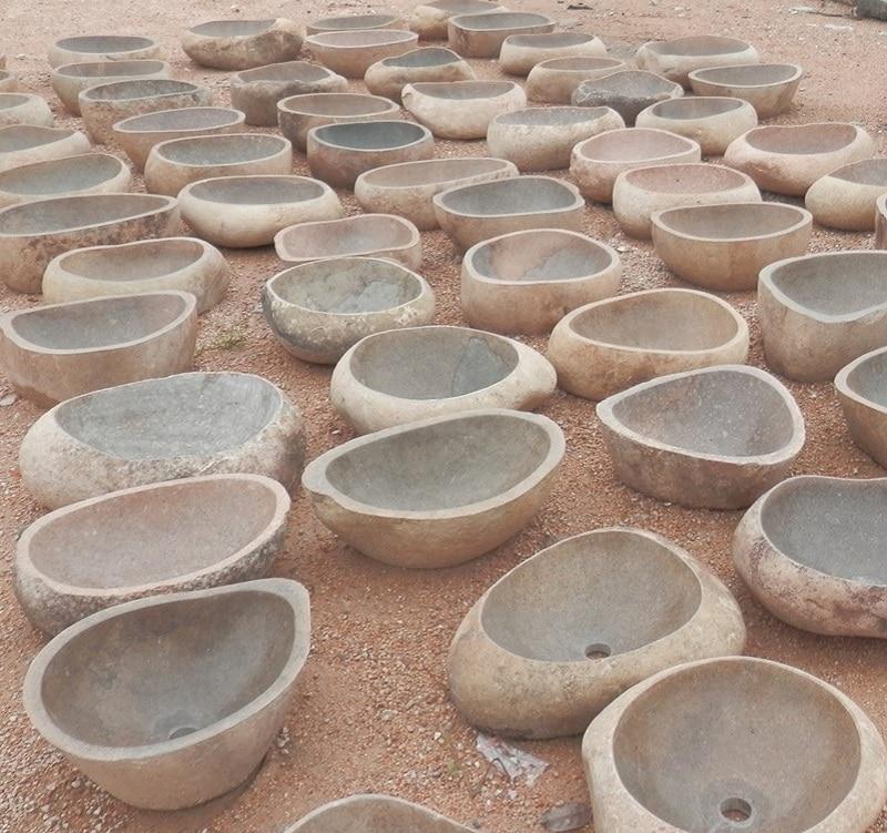 Vanity Outside Bathroom irregular stone vessel sink countertop nature rough surface