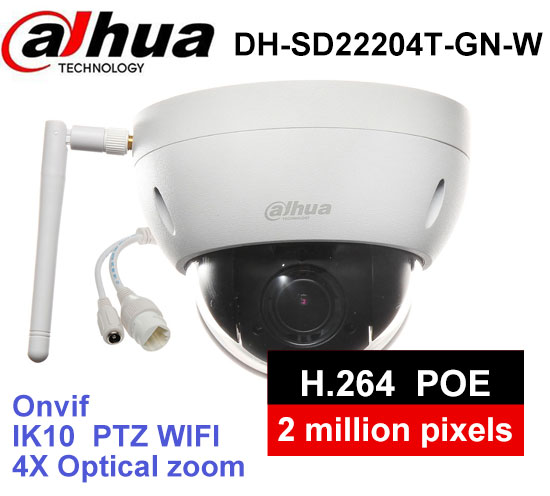Dahua DH SD22204T GN W WiFI IP 2MP HD Network Mini PTZ Dome 4x optical zoom