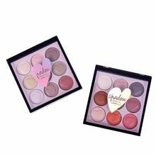 Hot Fashion Makeup Eye Shadow Eyeshadow Cosmetics Set With Brush 9 Colors Eye Makeup Palette Natural Shimmer Matt Setr F5.9