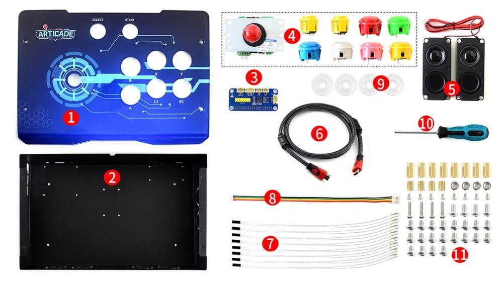 Kit de construction de Console d'arcade de paquet d'accessoires de Arcade-C-1P de Waveshare pour la framboise Pi 1 le joueur soutient RetroPie/KODI