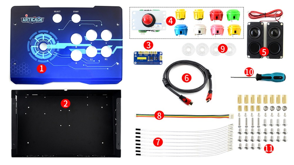 Waveshare Arcade-C-1P Accessory Pack Arcade Console Building Kit for Raspberry Pi 1 Player Supports RetroPie/KODI image