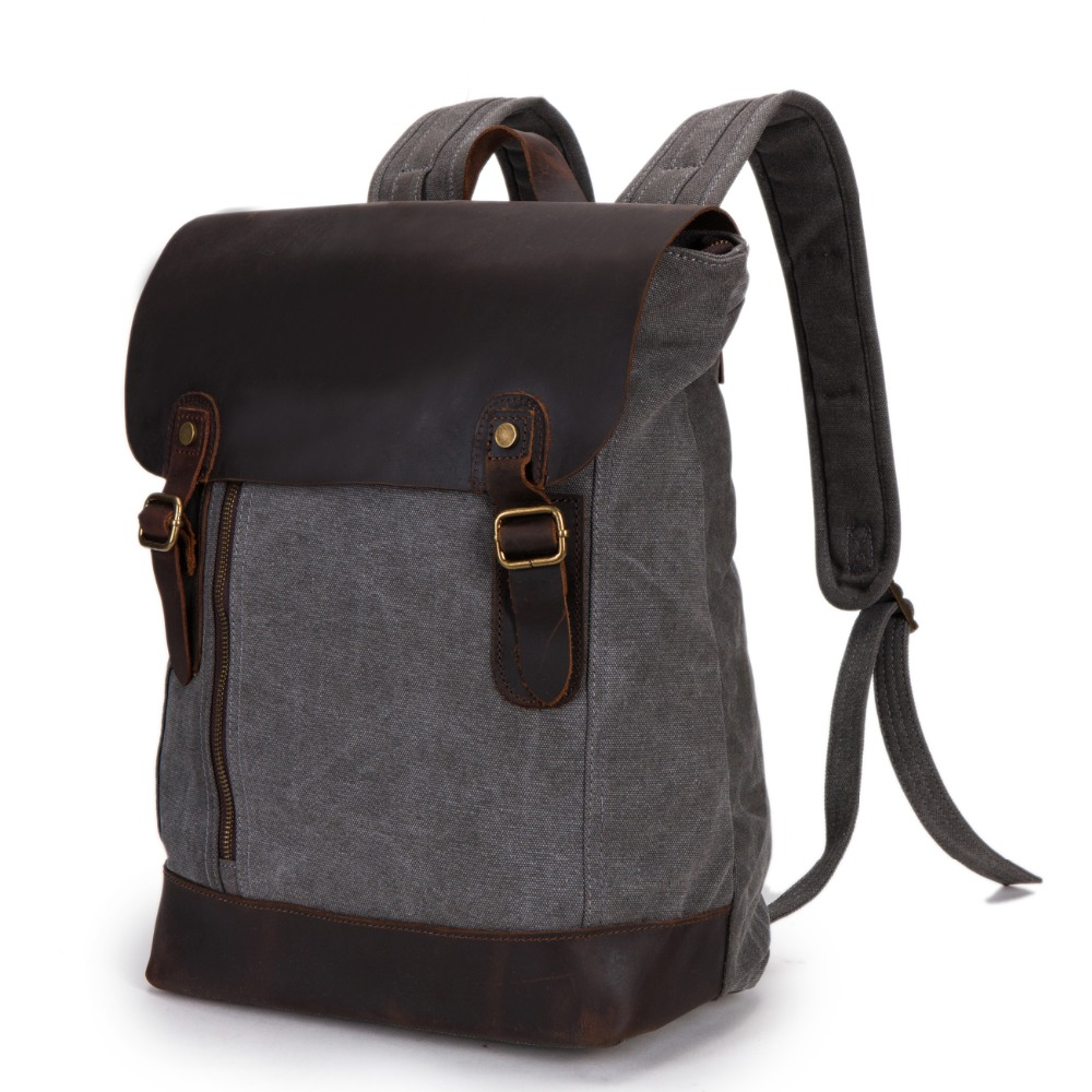 Brand high quality genuine leather backpack men canvas bookbag vintage women laptop backbag bag for college student BP00011 2016 fashion women s genuine leather backpack backbag hot selling woven genuine leather