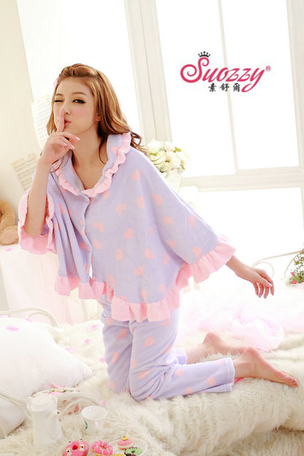 2011 winter thickening coral fleece long-sleeve cloak sleepwear lounge twinset 4 940