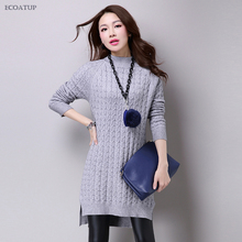 Cable Knit Sweater Dress Women Autumn Winter Vintage Split Side Vent Solid  Color Knitted Pullovers Jumpers 6bde2870d