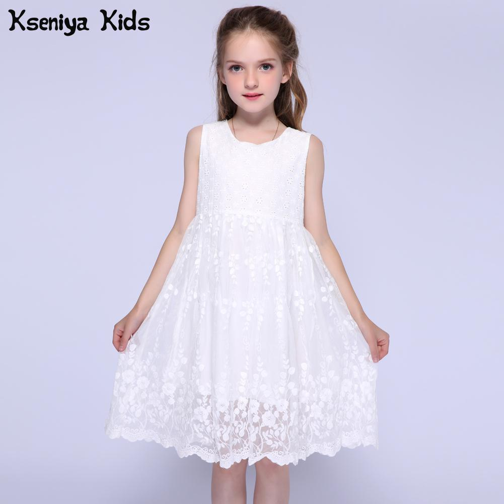 Kseniya Kids 2017 Summer White Little   Girl   Wedding Lace   Dress     Flower     Girls     Dresses   For Party And Wedding Prom   Dresses   Ball Gowns