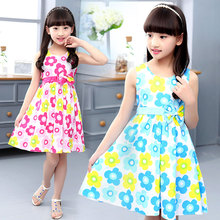 Baby Girl Dresses Summer Clothes 120CM-160CM Pink Blue Purple Colors Girls Dress