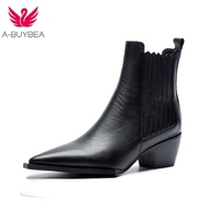 Spring Women's Leather Short Boots Black Women's Winter Chelsea Boots Slip on Ankle Boots for Women Brand Chaussure Bottes Femme