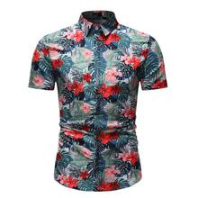 Floral Shirt Men's clothing Flower Hawaiian Style Short sleeve Mens dress Shirts Social Blouse Men Summer New