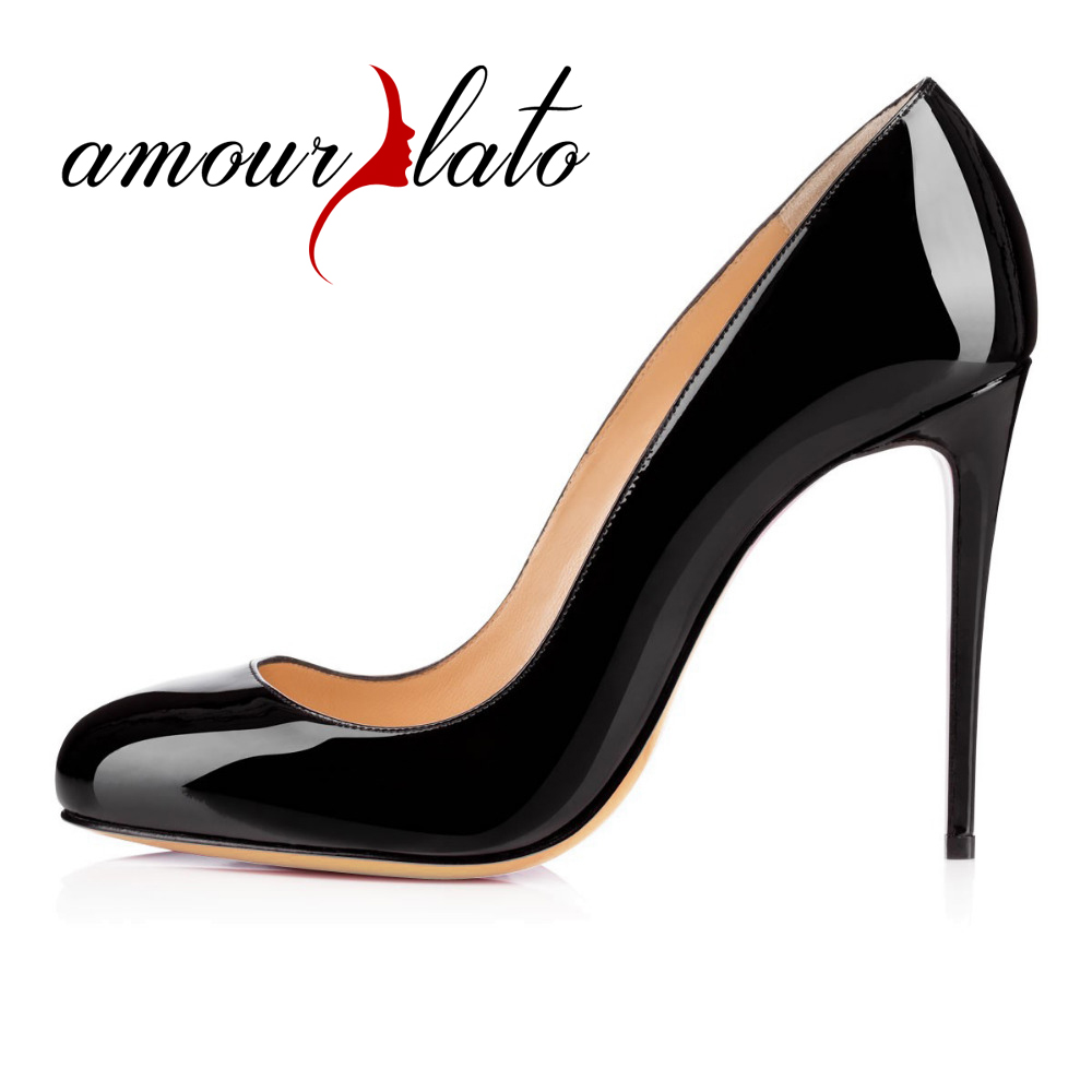 Amourplato Women's High Heel Round Toe Pumps Patent Leather Pumps Slip On Closed Toe Evening Party Dress Shoes 10cm Heel Height amourplato women s ladies handmade fashion big large size thick block heel closed toe high heel party office pumps chunky shoes