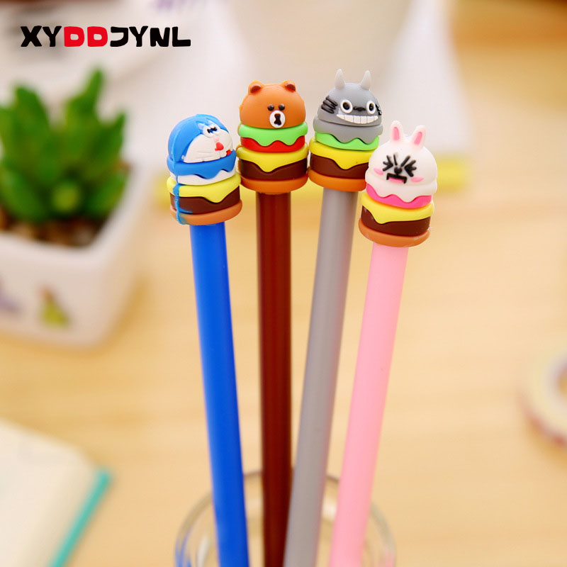 2Pcs 0.38mm Cute Cartoon Doraemon Brown Bear Bunny Cony Rabbit Cake Gel Ink Pen Kawaii Signature Pen School Office Supply ...