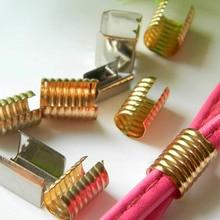 100 шт 8x13 мм круглый/плоский зажим обжимной шнур веревка кожаный зажим складной для DIY ожерелье ювелирных изделий Поставщик