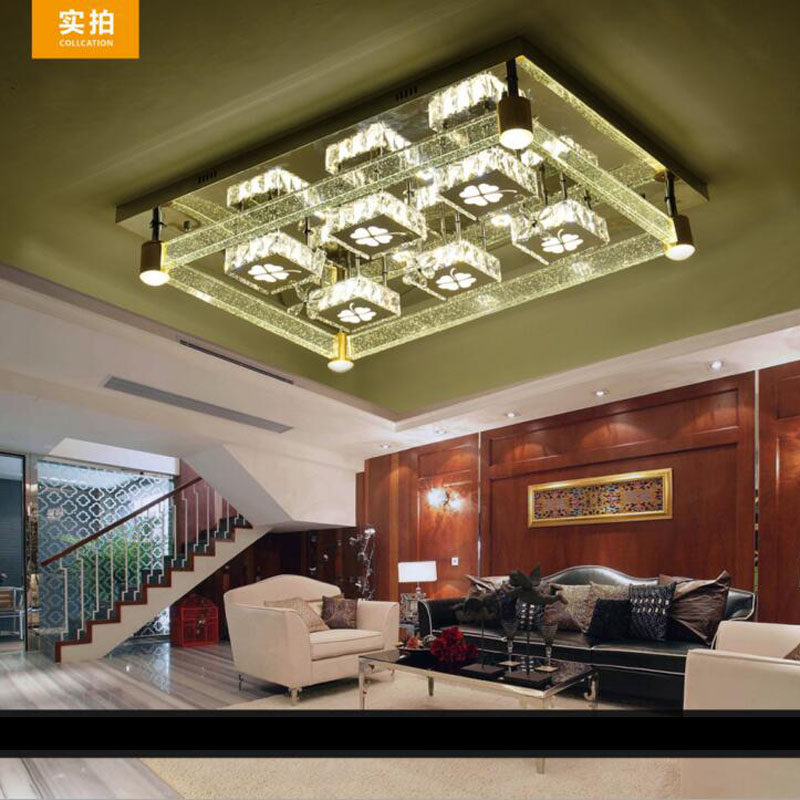 Rectangular living room lamp modern minimalist bedroom LED crystal ceiling lamps creative personality hall restaurant lighting rectangular europe living room crystal lights led ceiling lamps bedroom modern minimalist dining room lighting high quality