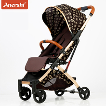 Anershi baby stroller folding portable trolley baby stroller ultra light stroller on the plane  ombrelle poussette portable baby stroller baby car baby stroller folding child trolley eu big high baby stroller leather