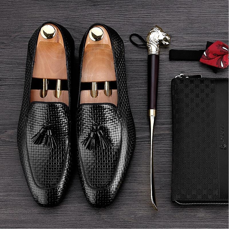 Luxo De Mão Botas Tecidas Homens Schoenen Sapatos Apontou Designers Heren À Vinho Casamento Preto Dos Toe Formais Vestido Couro Mycoron vermelho vwIEq1q