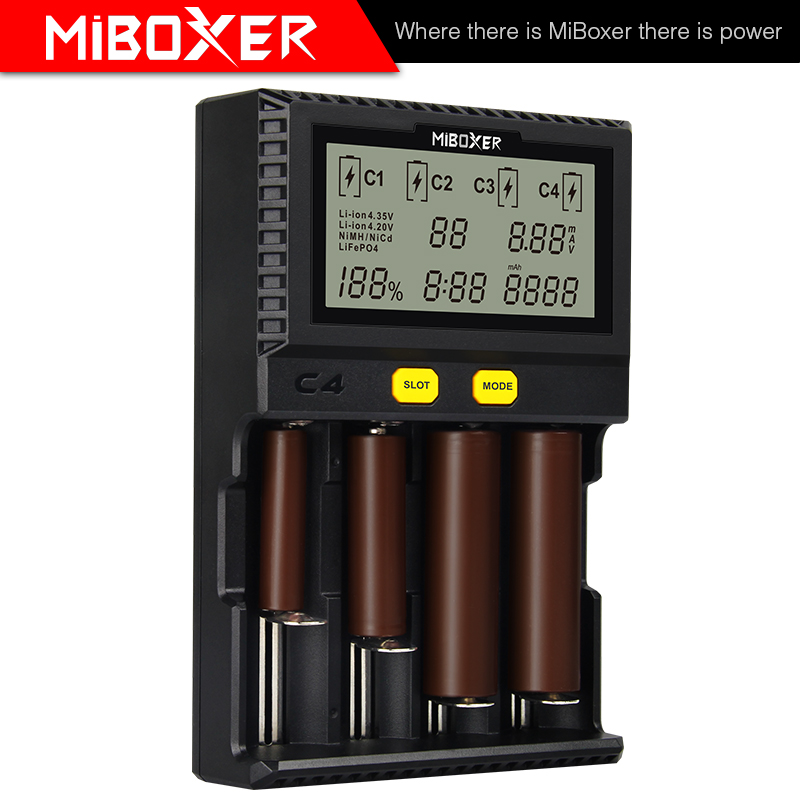 LCD C8 C2-6000 C2-3000 C4 Display Li-ion LiFePO4 Ni-MH Ni-Cd AA AAA 21700 20700 26650 17670 RCR123 MiBOXER 18650 Battery Charger