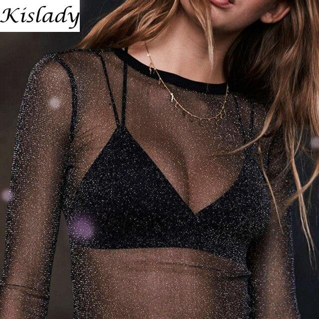 2017 сезон: весна-лето для женщин пикантные черные сапоги See Through сетчатая блузка прозрачный Сияющий Фитнес рубашка модные топы Вечерние