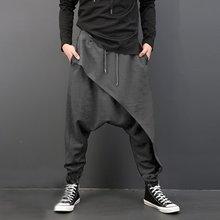 Vintage hombres Harem pantalones de cintura elástica con cordón pantalones  sueltos Hiphop Pantalon Hombre Cortina 553c66bf998