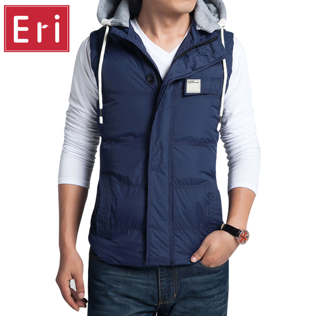 2017 Winter Men's Vests Thicken Slim Casual Vest Hat Detachable Youth Coats Male Hooded Cotton-Padded Waistcoat 3XL 4XL 5XL X392