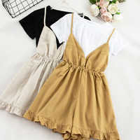 Sweet Two Pieces Set Women Cotton Linen Summer Suit Casual White Short Sleeve T-shirt + Cute Camis Playsuit Female High Quality