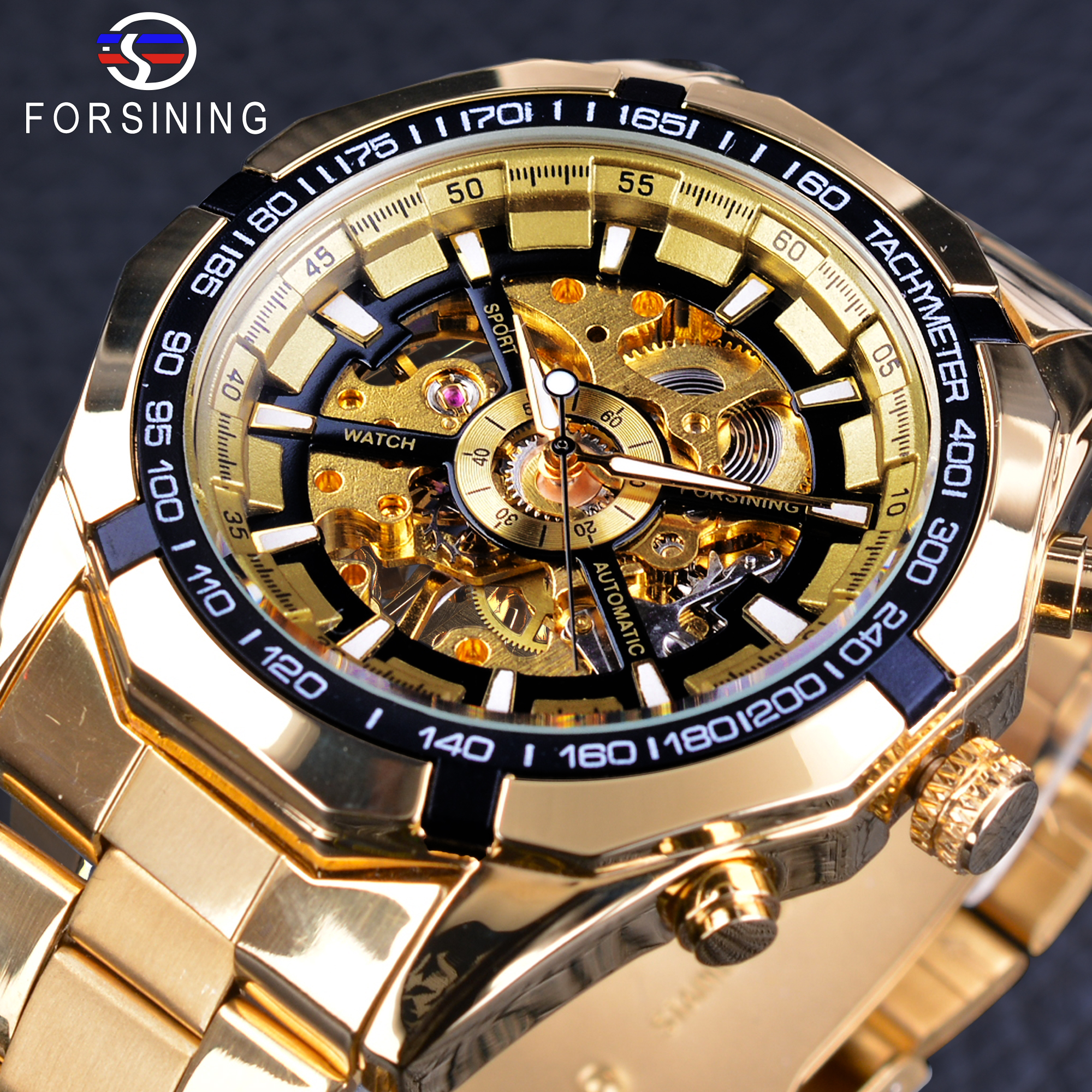brand golden case mechanical from mens forsining work in luxury lige fashion open watch automatic watches steampunk skeleton item top wrist