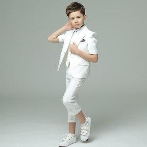Image 4 - Детская одежда Dollbling синяя белая пудра с коротким рукавом летнее платье удобный костюм на день рождения детский костюм с мелкими швами