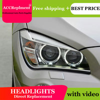 car styling For BMW X1 headlights angel eyes 2011 2015 For BMW X1 LED light bar Q5 bi xenon lens h7 xenon day light