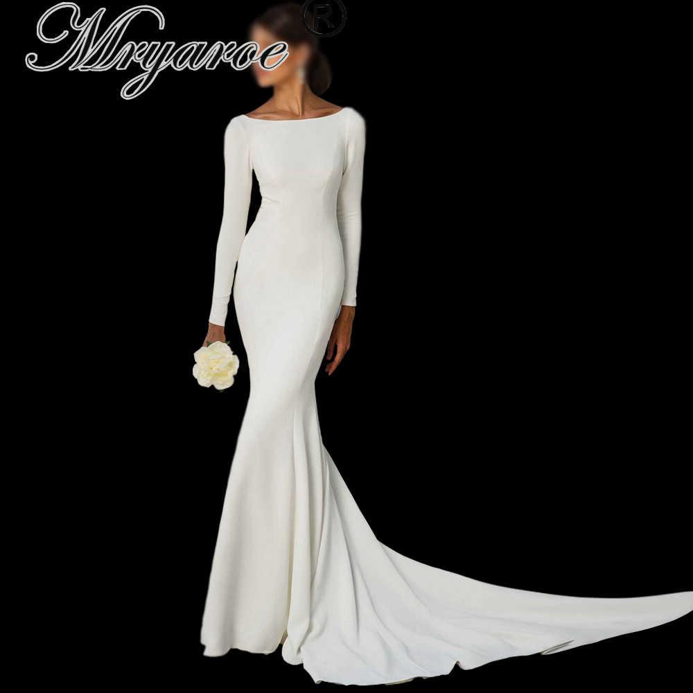 Mryarce Simple Elegant Long Sleeves Open Back Wedding Dress Mermaid Long Train Crepe Bridal Gowns Wedding Dresses Aliexpress