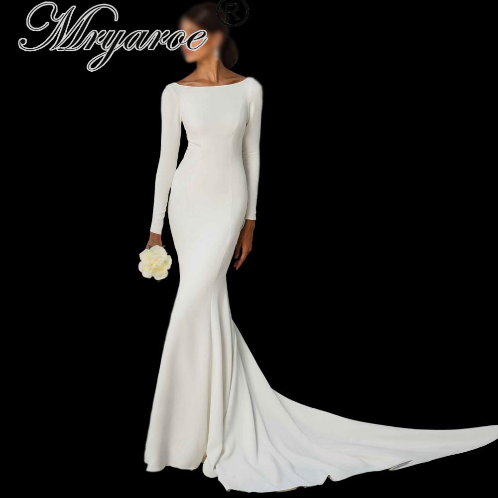 Mryarce Simple Elegant Long Sleeves Open Back Wedding Dress Mermaid Long Train Crepe Bridal Gowns