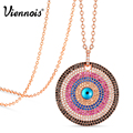 Viennois Gold/Rose Gold Plated Round Copper Pendant Necklaces For Woman Full Colorful Zircon Paved Magic Eye Pendants & Necklace