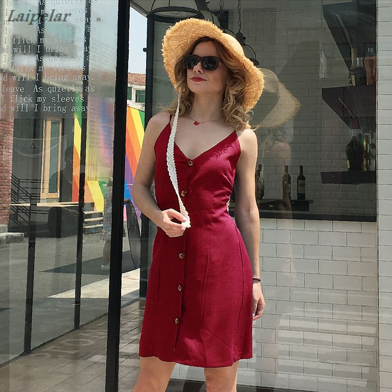 Women 39 s V Neck Summer Spaghetti Strap Solid Color Button Down Swing Mini Back Bow Knot Dress Laipelar in Dresses from Women 39 s Clothing