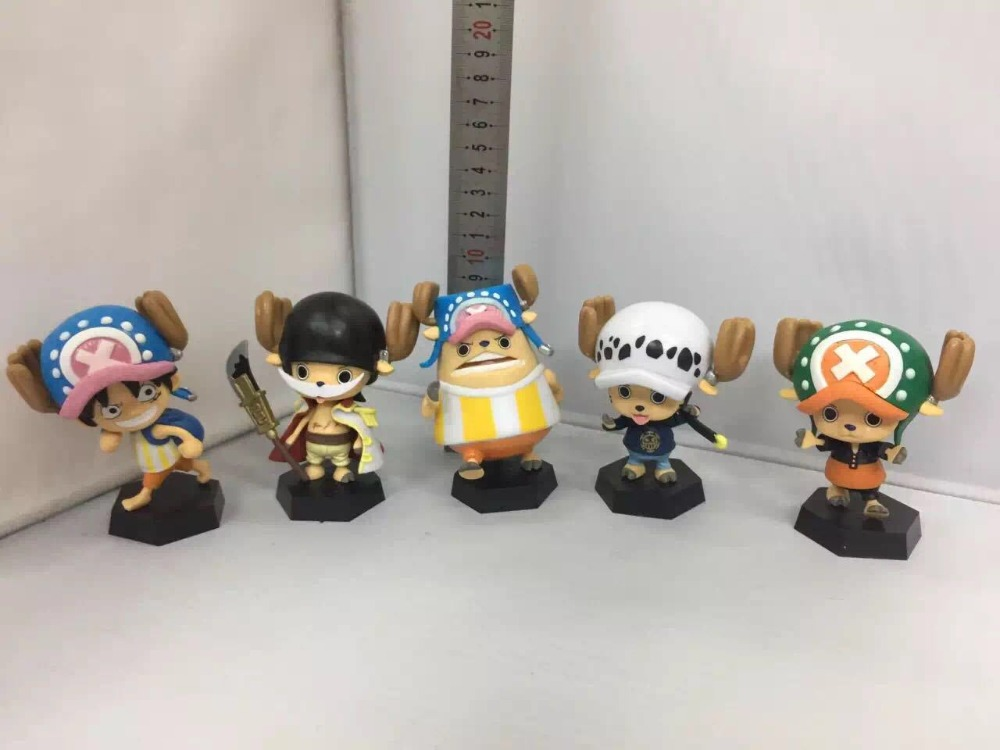 5pcs/set Anime One Piece Tony Tony Chopper Cosplay Luffy Law Edward Newgate Sabo Ace Buggy PVC Figures Collectible Model Toys japanese anime cartoon one piece tony tony chopper 2 years later pvc action figures toys 5pcs set with box