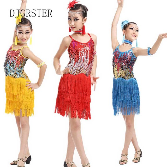 a4a0e7c98d689 Aliexpress.com : Buy DJGRSTER 2018 Sequin Fringe Dress Dance Gold Latin  Competition Costumes For Girls Salsa Dresses With Tassels Samba Clothing  from ...