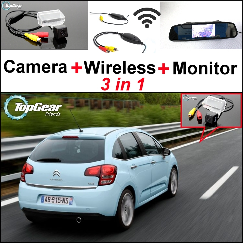 3 in1 Special Rear View Camera + Wireless Receiver + Mirror Monitor Easy DIY Back Up Parking System For Citroen C3 2002~2014 wireless pager system 433 92mhz wireless restaurant table buzzer with monitor and watch receiver 3 display 42 call button