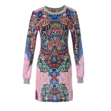 Новый 2018 Для женщин Весна Винтаж платье с длинными рукавами и принтом Дизайн короткое платье; серый розовый вязаный Повседневное женское платье vestidos