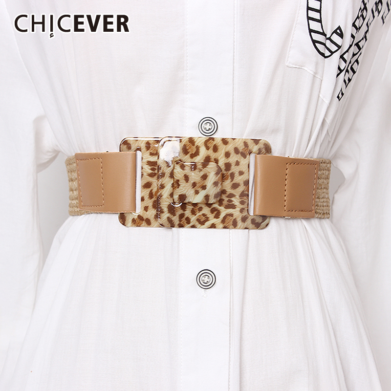 CHICEVER 2019 Summer High Waist PU Leather Leopard Belts Female Fashion New Vintage Dresses Accessories Bohemian Style