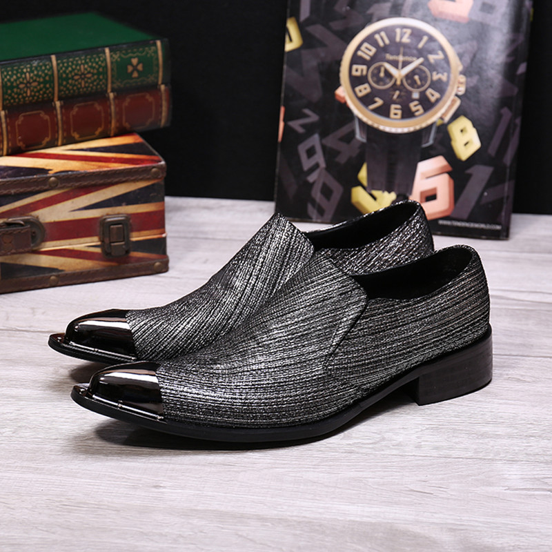 Big Size Genuine Leather Formal Men Dress Shoes Fashion Metal Toe Slip on Oxfords Party Wedding Italian Men Shoes Men Flats