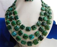 3Strands 18 20 14MM Malachite Green Baroque Freshwater Pearl Earring Necklace