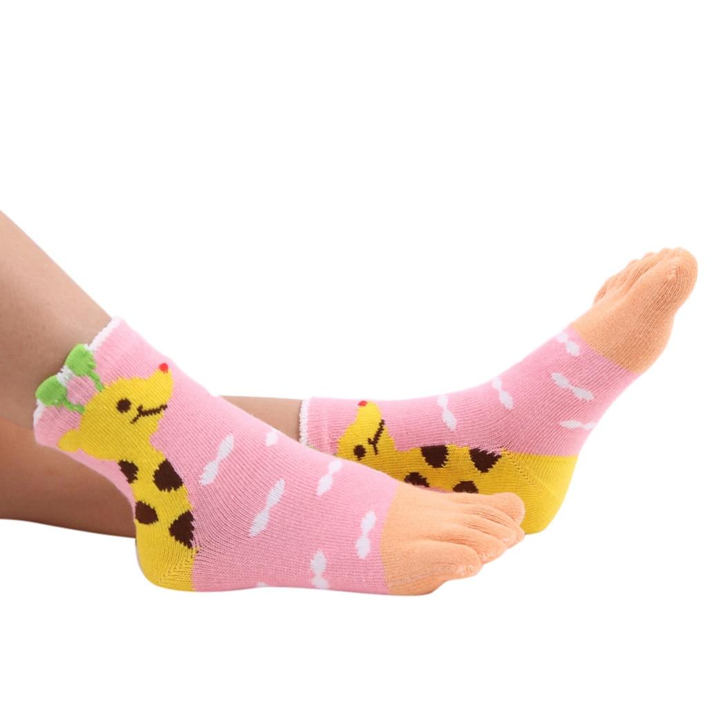 Cute Breathable  Baby For Girl Kids Foot Children Mesh Five Fingers Socks Bear