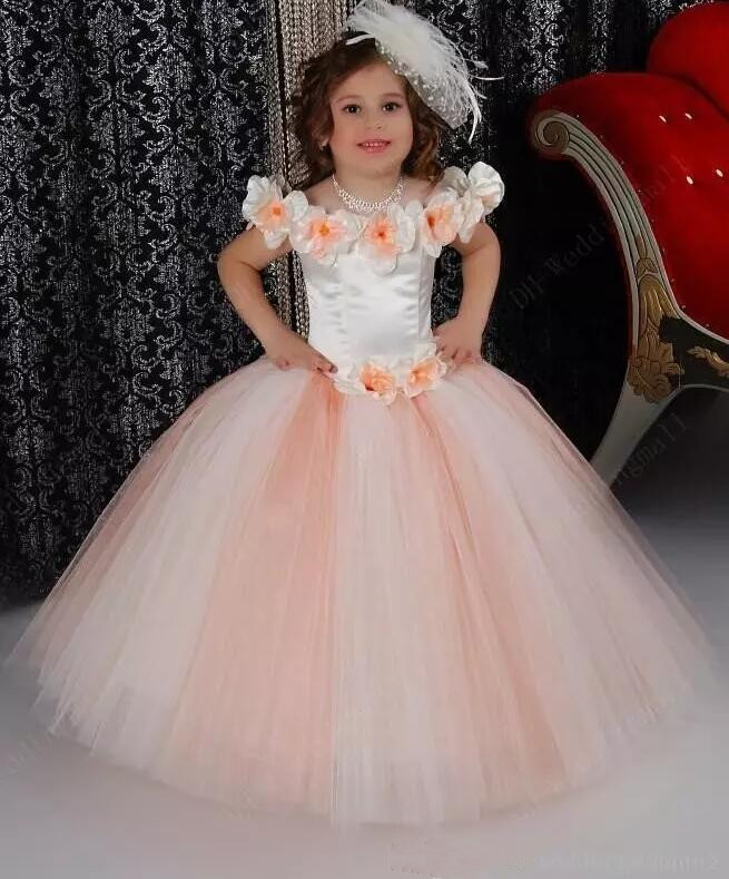 Puffy Off Shoulder Flower Girls Dresses For Wedding Satin Ruched Jewel Neckline 2018 First Communion Gowns Any Size v neckline dropped shoulder sweater
