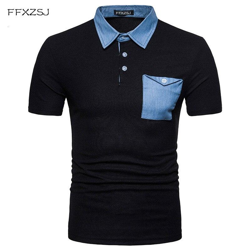 New 2018 Casual   polo   shirt Fashion Brand Men's Turn-down Collar summer Short Sleeve denim patchwork   POLO   Shirt dress men EU size