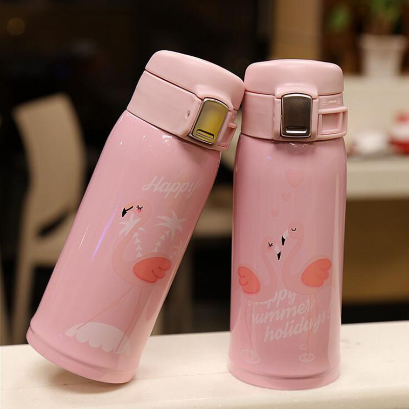 480ml New Arrive Thermos Cup Cartoon Flamingo Vacuum Flask Stainless Steel Water Bottle Travel Coffee Mug Thermal