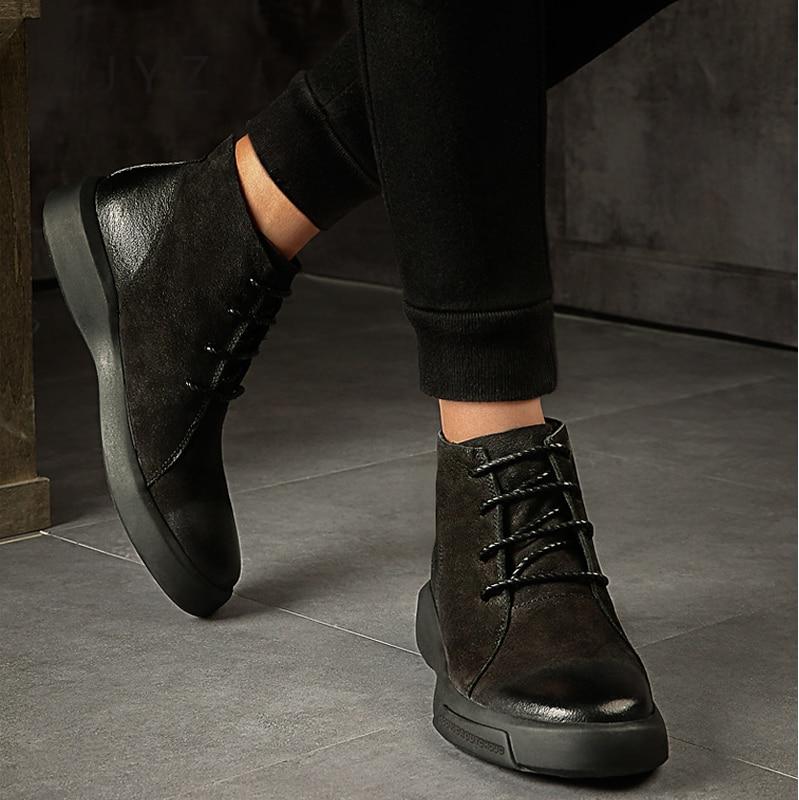Homem Sapatos Ankle Moda Macios Hightops Up Black De Chelsea Boots Botas Nova khaki Vintage Mens Do Men0031 Lace U4UOP