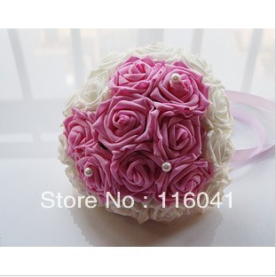 With Pearl Decoration PE Real Touch Rose Wedding Bridal Bouquet Multi-color to choose
