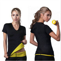 Women's Sweat Body Shaper Sauna T-shirts Belly Abdomen Fat Burn Weight Loss Slimming Thermal Underwear Tops Neoprene Shapewear
