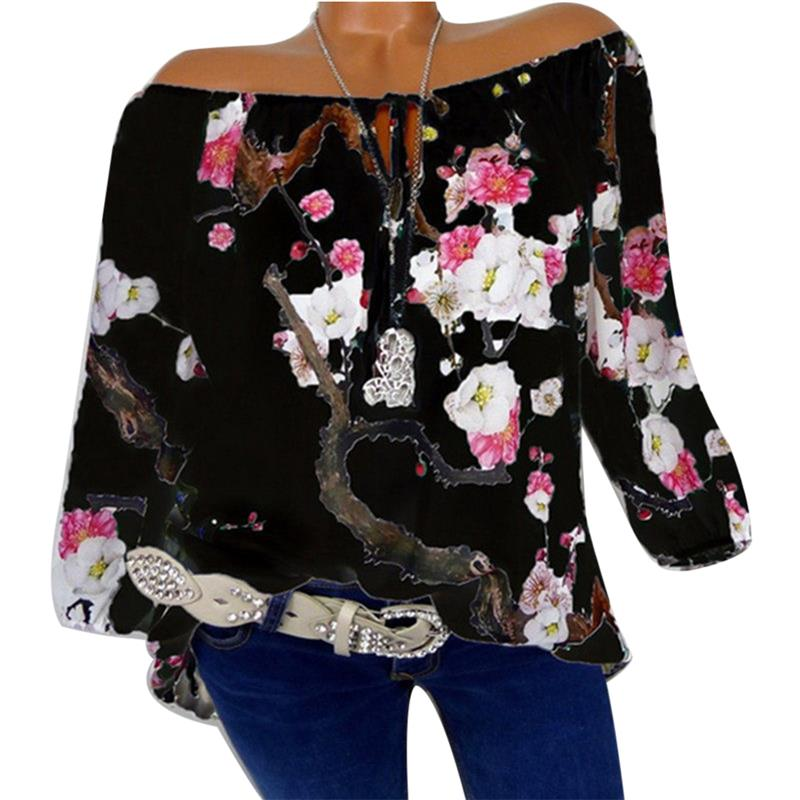 Off Shoulder Womens Tops And Blouses Flower Printed Fashion Shirts Long Sleeve Vintage Ladies Plus Size 2018 Boho Blusa Feminina 3