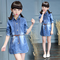 kids Girls long-sleeved denim dress 2017 new baby girls' clothing fashion big virgin solid color dress 4/5/6/8/9/10/12/13 years