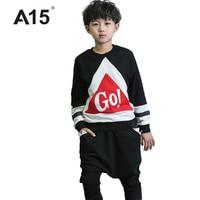 A15 Kids Clothes Brands Boys Set Spring Hip Hop Clothing Kids Tracksuit Girls Clothing Set 2017