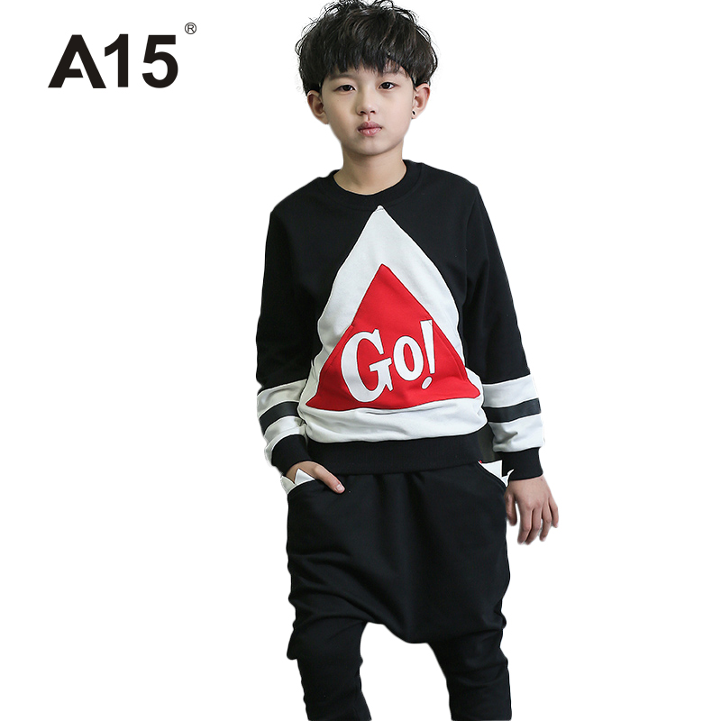 A15 Kids Clothes Brands Boys Set Spring Hip Hop Clothing Kids Tracksuit Girls Clothing Set 2017 New Summer Girls Clothes Teenage